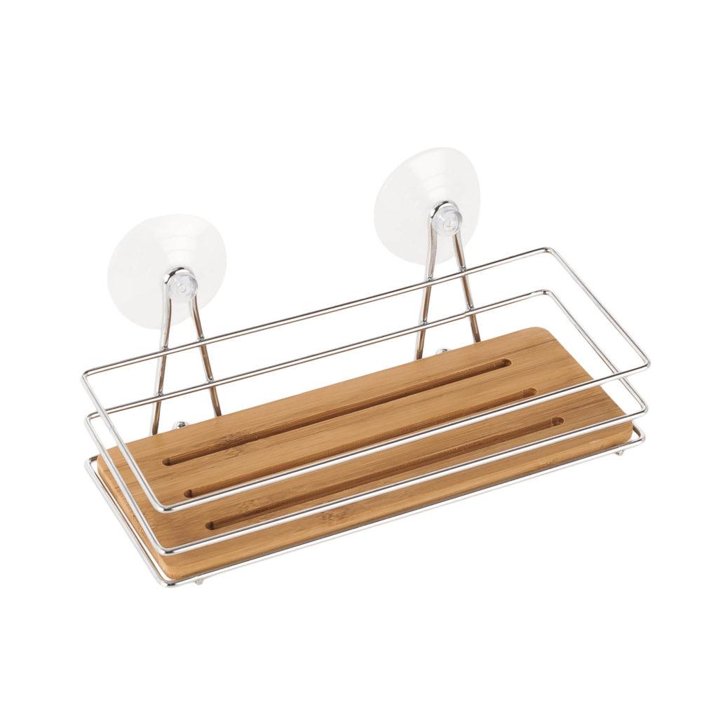 Estanteria de baño cromada de bambu. Ideasdecasa