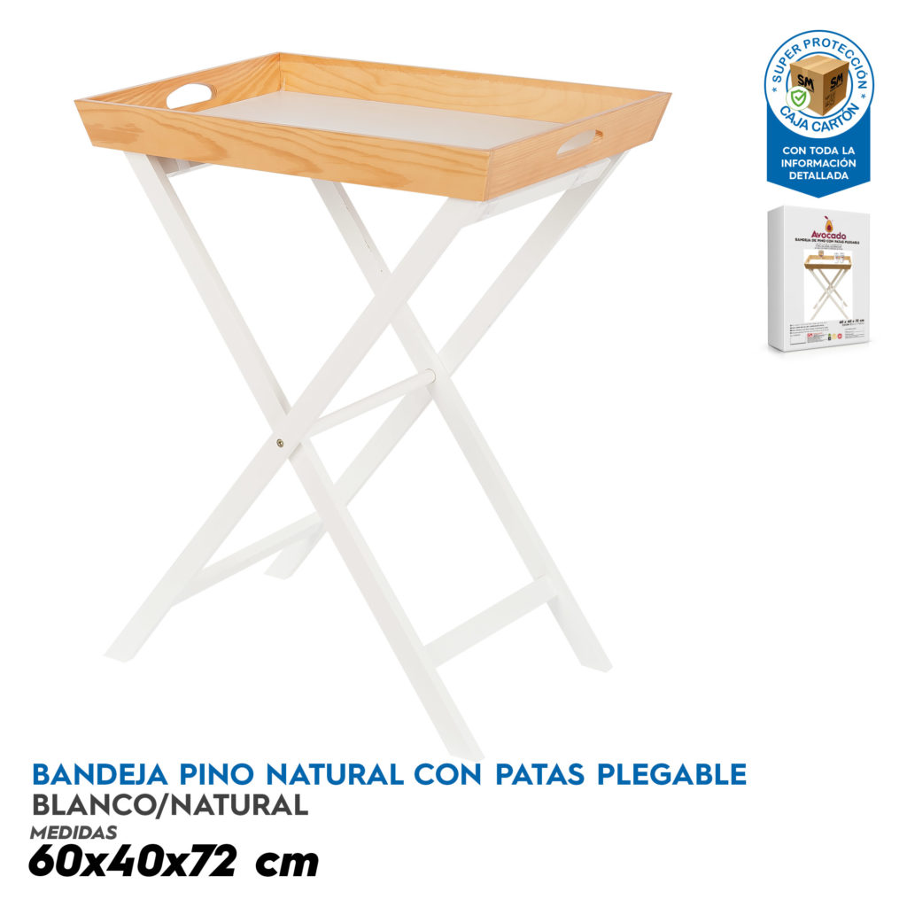 Bandeja Pino Natural con Patas Plegables. Ideasdecasa