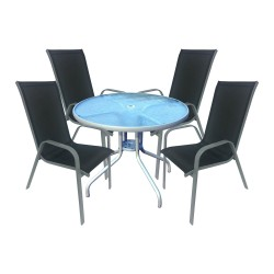 CRYSTAL TABLE AND 4 CHAIRS